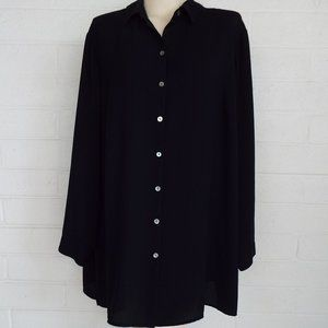 J. Jill 2x solid black crepe button front tunic